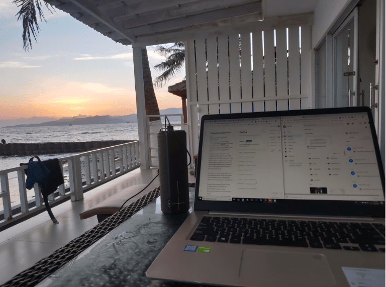 Laptop in an Airbnb