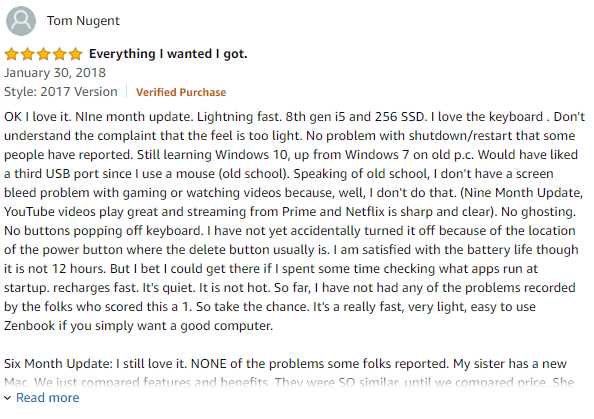 Asus Zenbook customer reviews