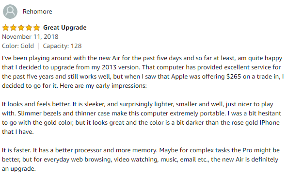 Macbook air customer reviews