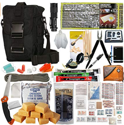 Prepper's Favorite Get Home Bag with First Aid Kit, Water Filter, Food, Fire, Tools and Shelter