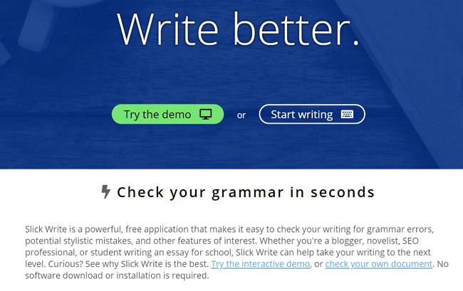 Slick write a grammarly alternative