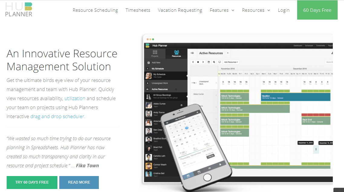 Hub Planner Resource Management Software